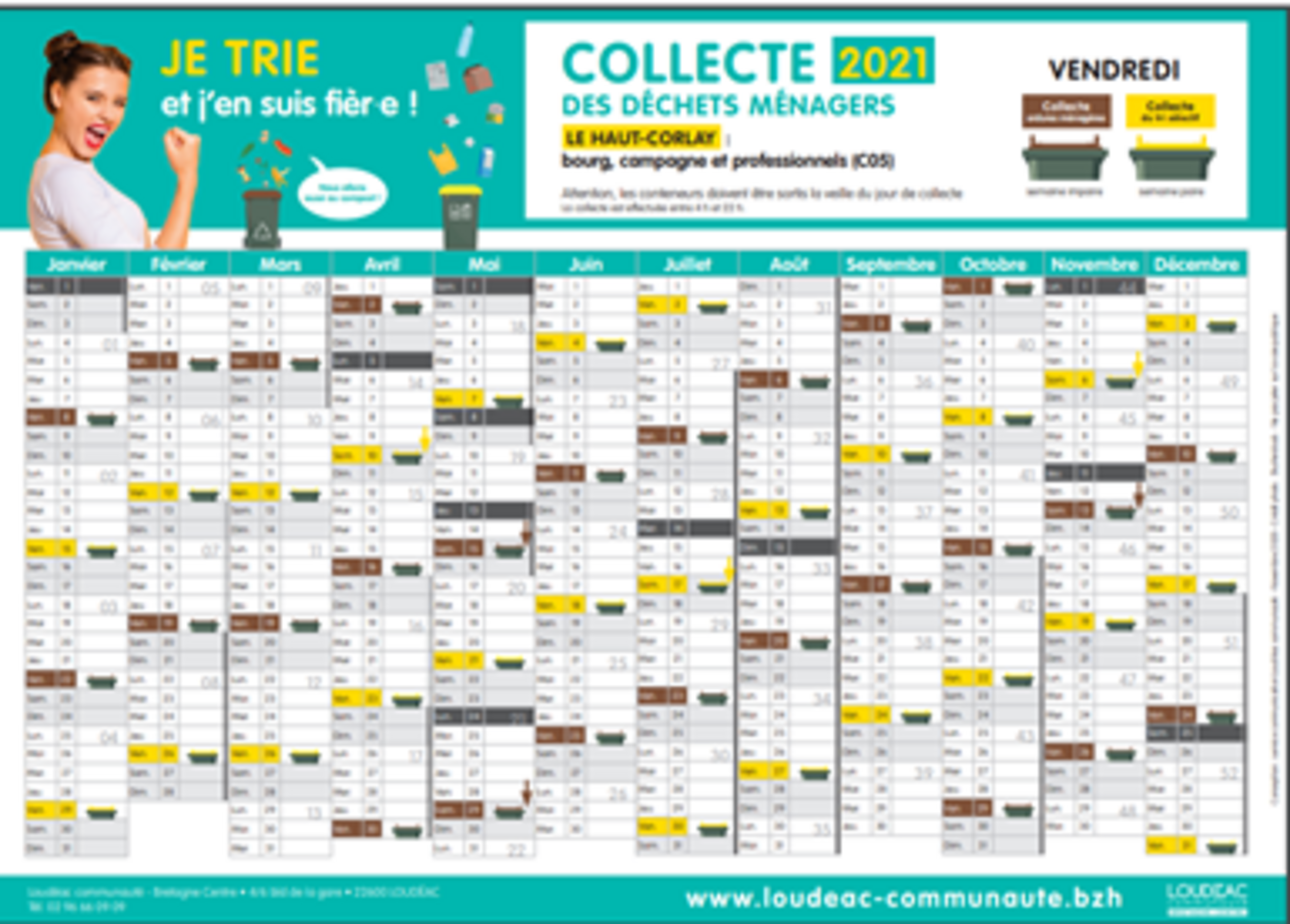 Le Haut-Corlay Calendrier 2021 de collecte des « ordures ménagères » et du « tri sélectif -