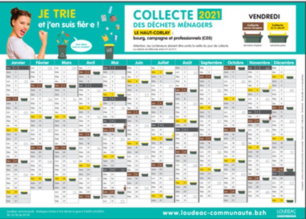 Le Haut-Corlay Calendrier 2021 de collecte des « ordures ménagères » et du « tri sélectif - 0